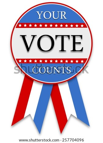 Illustrated red white and blue voting badge - stock photo