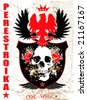 Illustrated russian style shield and background with skull and wings - stock photo