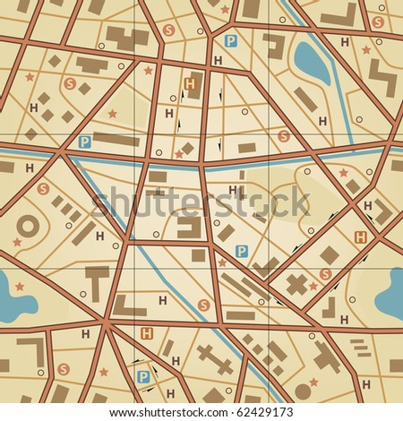 Illustrated seamless tile of a generic city without names - stock photo