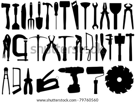 Illustrated silhouette collection of tools - stock photo