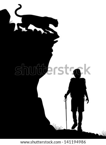 Illustrated silhouette of a lone hiker being stalked by a cougar - stock photo
