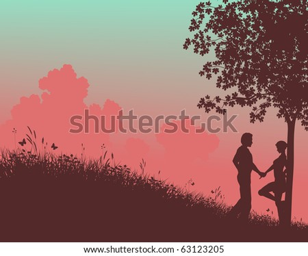 Illustrated silhouette of a young couple in a field