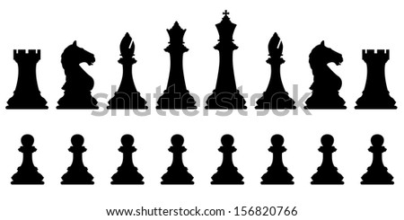 Illustrated silhouettes of a set of standard chess pieces
