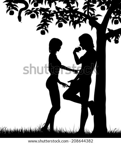 Illustrated silhouettes of Adam and Eve and an apple tree - stock photo