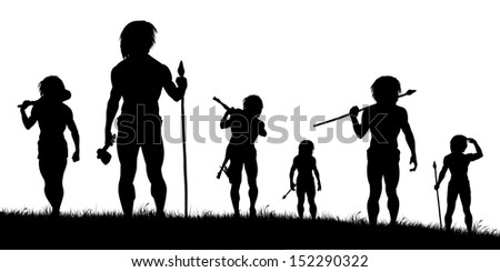 Illustrated silhouettes of cavemen hunters on patrol - stock photo