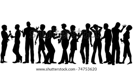 Illustrated silhouettes of men and women standing at a party