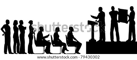 Illustrated silhouettes of people at an art auction - stock photo
