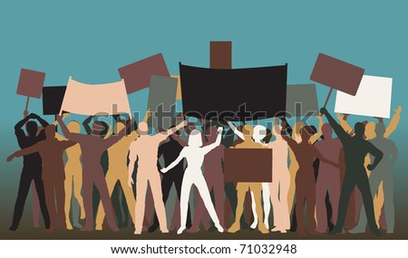 Illustrated silhouettes of protesters and banners