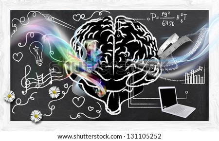 Illustrated Skills for Right and Left Brain on Blackboard - stock photo