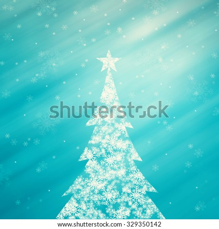 Illustrated snowflake Christmas tree with star shape and beautiful bright and shiny cyan color background with blurry snowflake. Christmas Holiday illustration copy space background. - stock photo