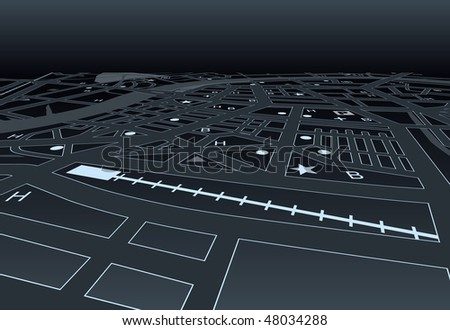 Illustrated street map of a generic city at night - stock photo