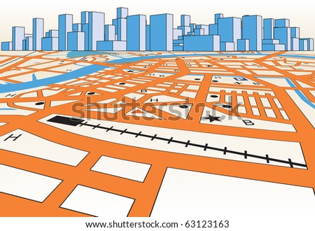 Illustrated streetmap of a generic city plus skyline - stock photo