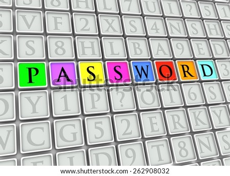 "Illustrated tiles with the word ""password"" highlighted in colors - stock photo"