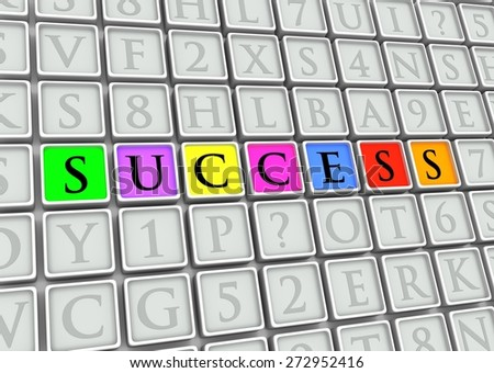 "Illustrated tiles with the word ""Success"" highlighted in colors - stock photo"