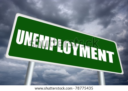 Illustrated unemployment sign - stock photo
