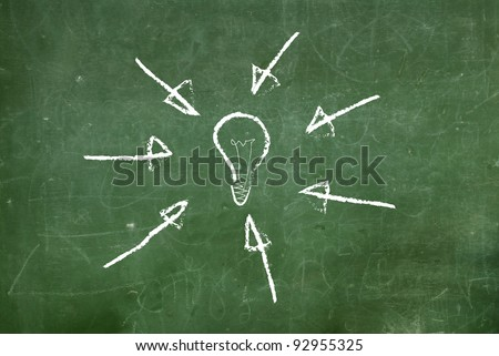 illustrated with chalk drawn light bulbs on a blackboard. - stock photo