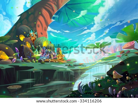 Illustration: A Fantastic Wonderland with Giant Tree, Treasure and Mystery Things. Accompanied by Danger. A Paradise of Adventurers. Realistic Cartoon Style Scenery / Wallpaper / Background Design.  - stock photo