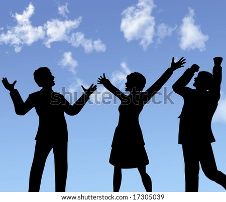 ILLUSTRATION: A group of business people silhouettes celebrate a win under blue sky. Includes a clipping path of the people.