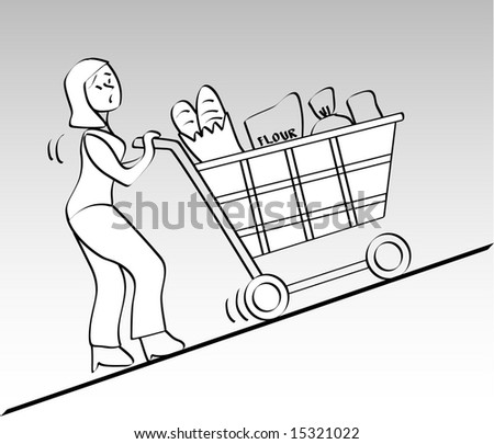 illustration a lady pushing cart