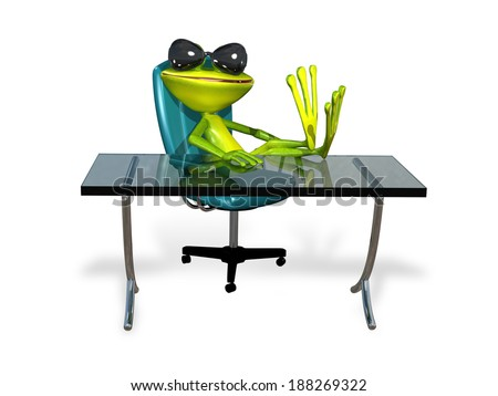 illustration a merry green frog at the table - stock photo