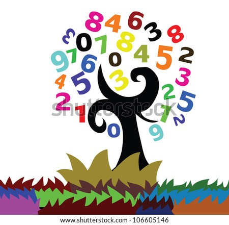 Illustration - A number tree. - stock photo