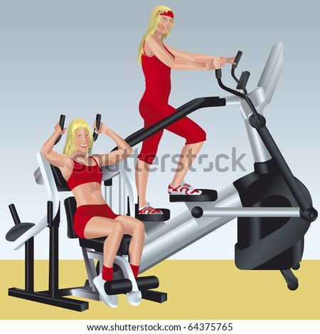 illustration about aerobics and fitness pretty girls are doing exercises on simulators
