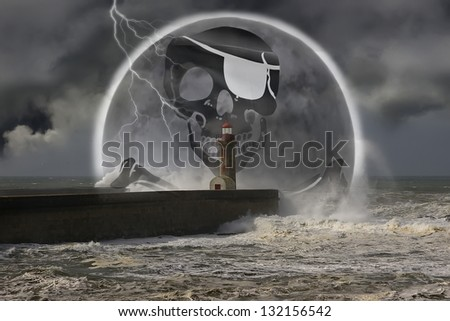 Illustration about concept of modern www.piracy - stock photo
