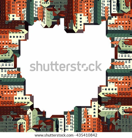 Illustration about the architecture and real estate. The facades of residential multistory apartment buildings with a pitched roof. Multicolored houses stand each other. Place for an inscription. - stock photo