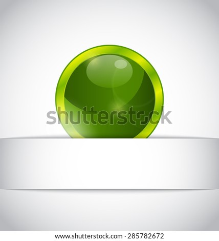 Illustration abstract eco ball sticking out of the cut paper - raster - stock photo