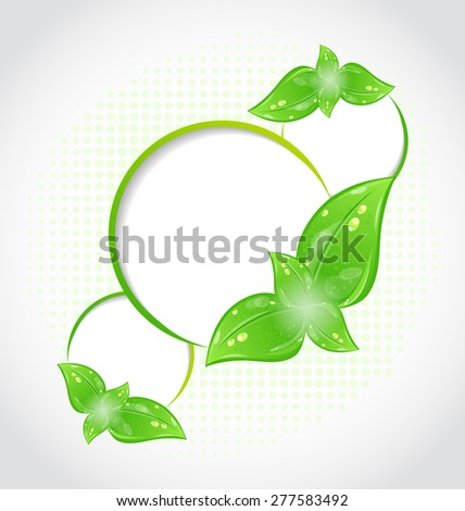 Illustration abstract frames with eco green leaves - raster - stock photo