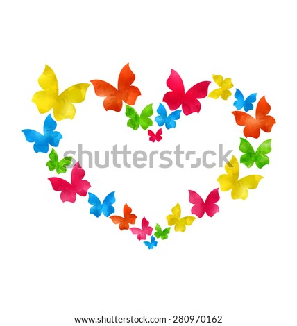 Illustration abstract hand-drawn watercolor butterflies for Valentines Day, copy space for your text - raster  - stock photo