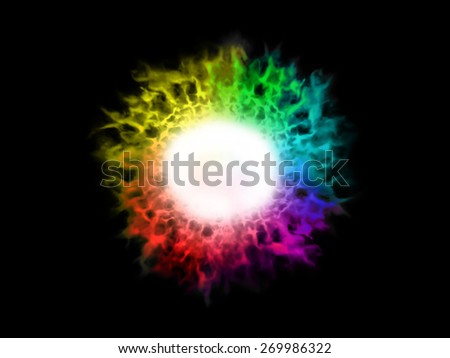 Illustration abstract image of explosion spectrum color fire ball - stock photo
