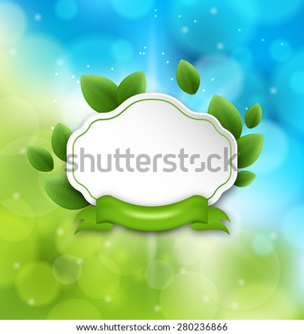 Illustration abstract label with eco green leaves and ribbon on glowing background - raster - stock photo