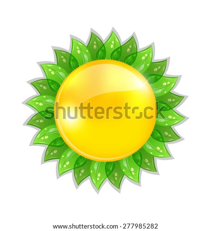 Illustration abstract sun with leaves isolated on white background - raster - stock photo