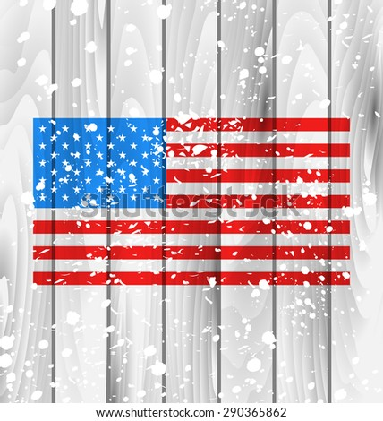 Illustration American Grunge Background with Flag for Independence Day, Wooden Texture - raster - stock photo