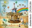 Illustration - Amusement park - stock