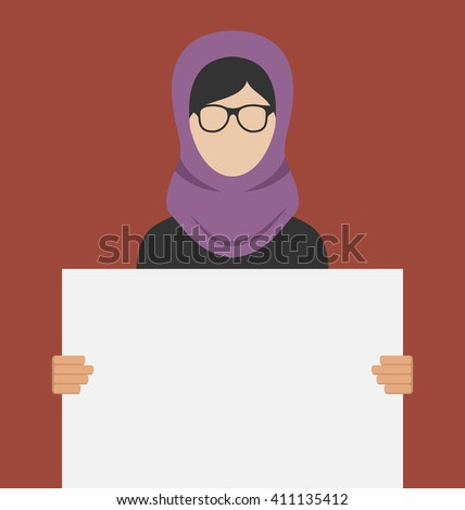 Illustration Arabic Woman Holding a Blank Horizontal Banner, Copy Space for Your Text on Poster - raster - stock photo