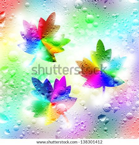Illustration. Autumn maple leaf and drops of rain. - stock photo
