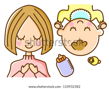 Illustration baby mother - stock photo