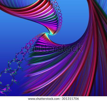 illustration background fractal colorful spiral satin silk - stock photo