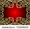 illustration background frame with gold(en) old pattern - stock photo