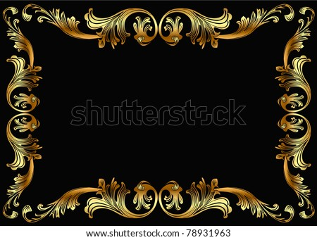 illustration background frame with vegetable gold(en) pattern - stock photo
