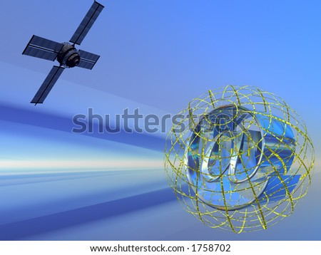 Illustration, background of a virtual mail server, provider. Speed, technology, communication concept - stock photo