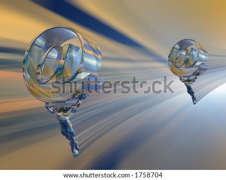 Illustration, background of a virtual mail server, provider. Speed, technology, communication concept. Clipping path. - stock photo