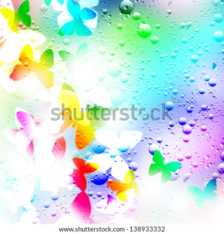 Illustration background of butterflies and drops of rain. - stock photo