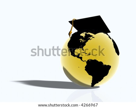 Illustration, background of golden glass world globe with american continent wearing a graduation hat.  Globalization, education concept.
