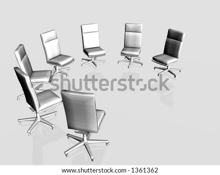 Illustration, background of office chairs left empty, possibility to put someone in it.  Clipping path, copy space. - stock photo