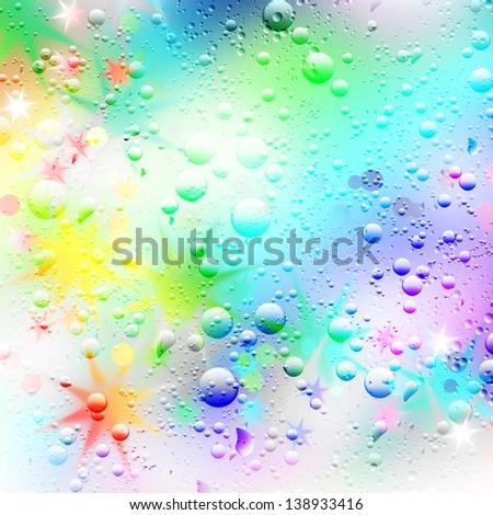 Illustration background of stars and raindrops. - stock photo