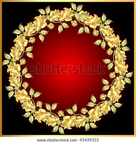 illustration background with gold(en) rose on circle - stock photo