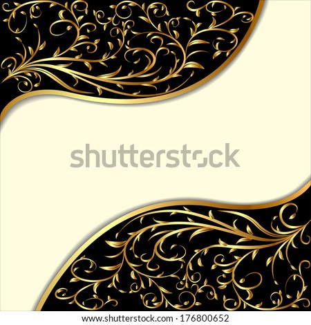 illustration background with gold ornament and waves - stock photo